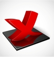 3d red check mark symbol vector image