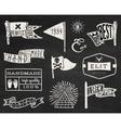 Set of chalk hipster vintage retro labels and log vector image