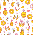 Pineapple mood pattern on white background vector image