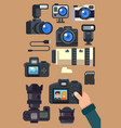 graphic set camera and video recorder vector image