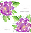 invitation cards with watercolor blooming peonies vector image