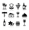 Wine icons set - glass bottle restaurant food vector image