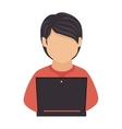 man laptop computer technology education icon vector image