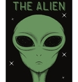 Face of green alien isolated on black background vector image vector image
