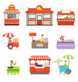 street food kiosk set on wheels and without with vector image