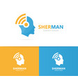man and wifi logo combination face and vector image