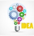 bright idea light bulb with cogs and gears vector image