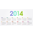 2014 calendar weeks start with sunday vector image