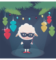 A girl wearing a sheep costume vector image vector image