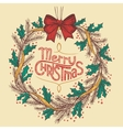 Christmas wreath line drawing vector image vector image