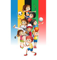 Poster of children doing different sports vector image vector image