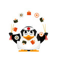 chef of japanese cuisine small young penguin vector image