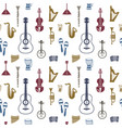 digital blue red music instruments vector image
