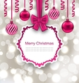 Greeting Paper Card with Bow Ribbon and Christmas vector image