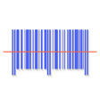 Scanning bar code red laser line vector image