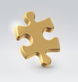 Golden jigsaw puzzle piece vector
