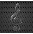 Glass treble clef on metal texture background vector image vector image