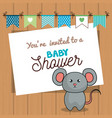 invitation baby shower card with mice desing vector image