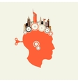 Silhouette head with key men in the back vector image