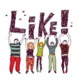 Group happy casual people like isolate color vector image