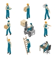 Delivery Man Isometric Icons Set vector image