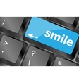 Computer keyboard with smile words on key - vector image vector image