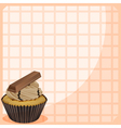 A stationery with a cupcake with chocolate vector image