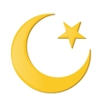 Crescent and star cartoon icon vector image