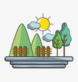 mountains with grid wood and trees vector image