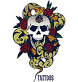 skull with snake and five roses tattoo vector image