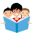 mom reading a story to her children vector image vector image