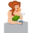 Retro hipster girl eats cookie vector image
