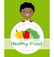 boy with vegetables vector image vector image