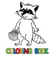 Coloring book of little funny raccoon vector image