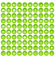 100 database and cloud icons set green circle vector image