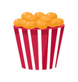 crispy fried snack in stripy bucket cinema and vector image