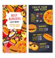 menu card template for fast food meals vector image