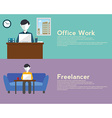Freelance and Office woek flat set with networking vector image