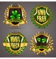 Golden badges with laurel wreath vector image