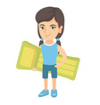 little caucasian girl holding inflatable mattress vector image