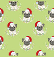 seamless pattern with pug-dog in santas hat and vector image