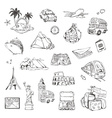 Travel sketches of icons set vector image