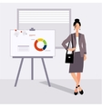beautiful young business woman presenting with a vector image vector image