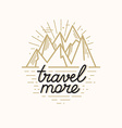 badge in trendy linear style with mountain a vector image vector image