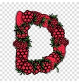 Letter D made from red berries sketch for your vector image