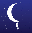 man hanging on the moon vector image