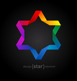 Rainbow Origami David Star on black background vector image