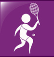 Sport icon for tennis on purple vector image
