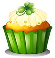 A delicious cupcake for St Patricks day vector image