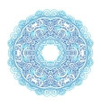 Ornate blue lacy circle pattern vector image